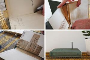 Книга с твърди корици като покривало за рутер